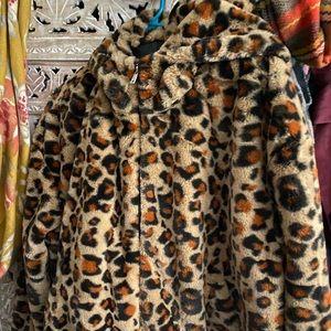 Ugg leopard faux fur hooded jacket